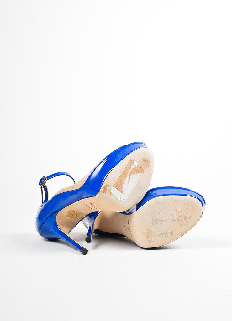 "Blue and Tan Jimmy Choo Suede Patent Color Block Peep Toe ""Tami"" Pumps Outsoles"