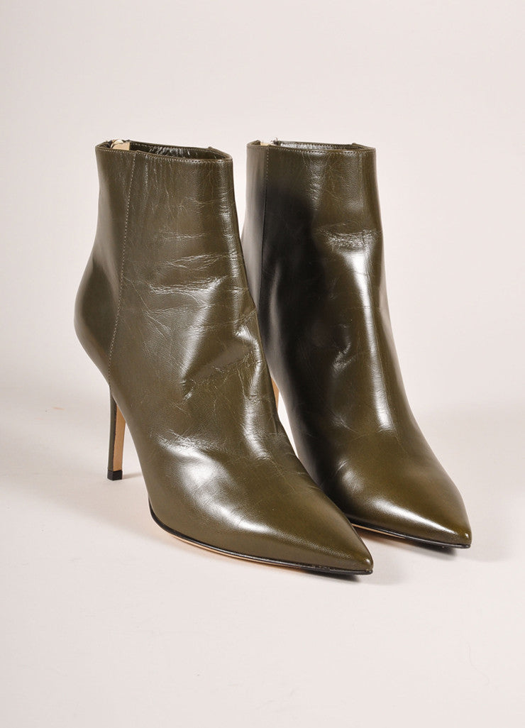 "Jimmy Choo New In Box Army Green Leather ""Amore"" Pointed Toe Ankle Boots Frontview"