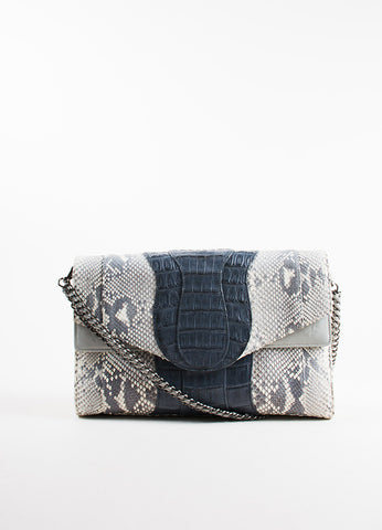 Khirma Eliazov Herzog Grey Python and Crocodile Convertible Clutch Bag Frontview