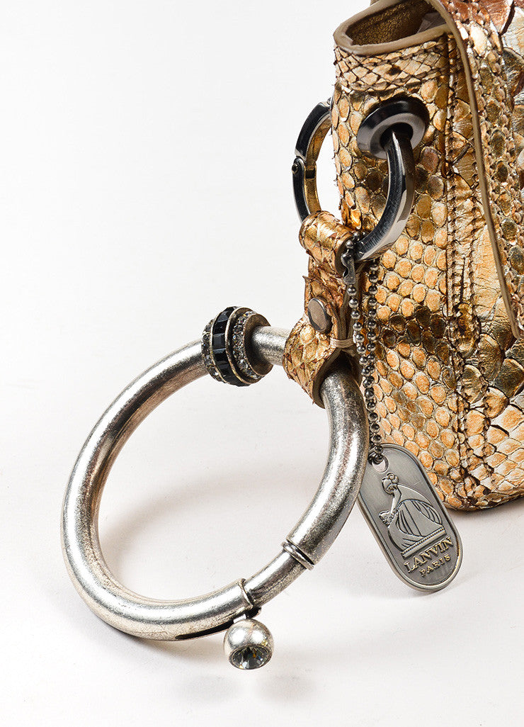 Lanvin Gold and Silver Metallic Python Leather Ring Handle Clutch Bag Detail 2