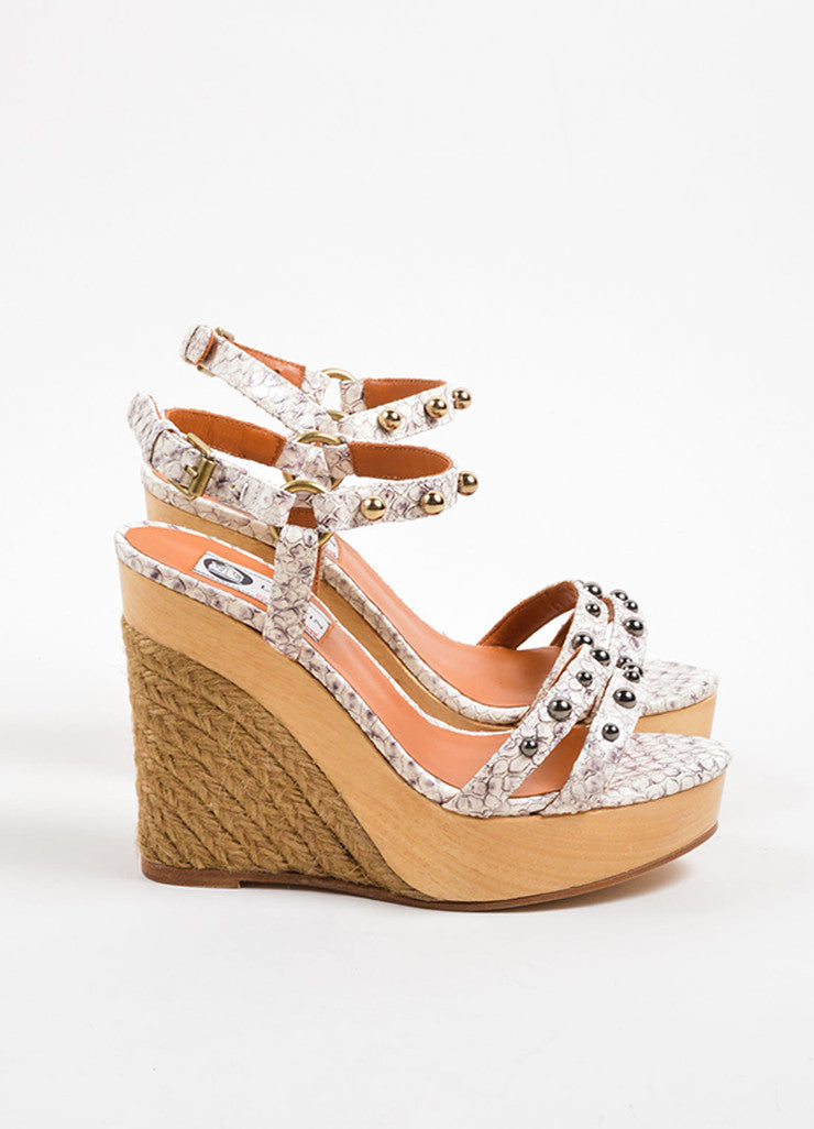 Lanvin White and Grey Snakeskin Wood Raffia Studded Wedge Sandals Sideview