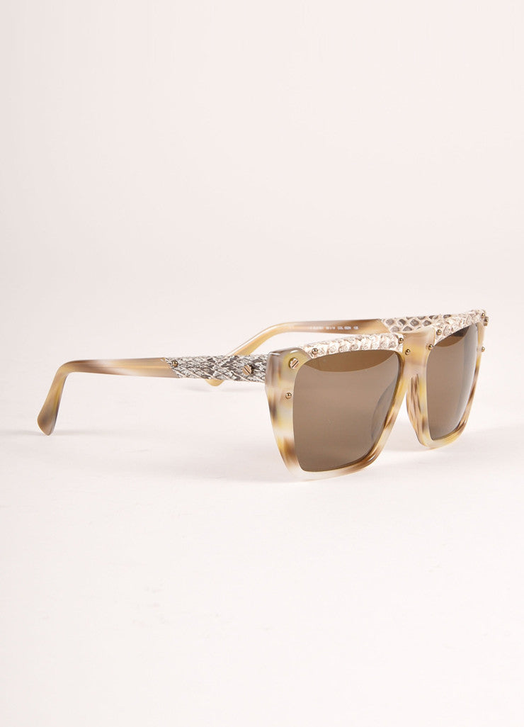 "Lanvin New With Tags Cream and Brown Snakeskin Plastic ""SLN 501"" Shield Sunglasses Sideview"