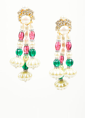 Faux Pearl Lawrence VRBA Multicolor Bead Earrings Front