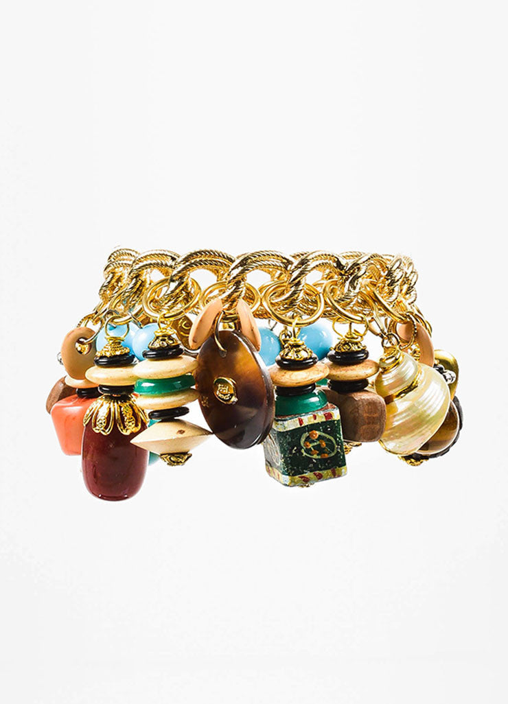 Gold Toned and Multicolor Lawrence Vrba Capricorn Charm Chain Bangle Bracelet Backview
