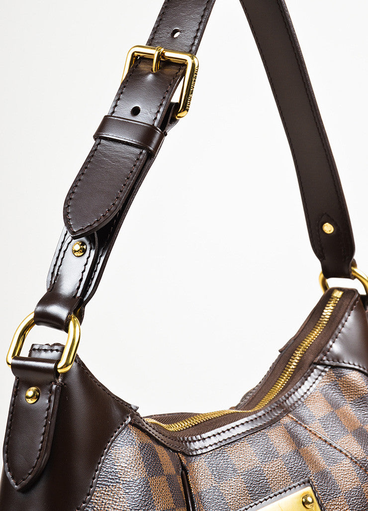 "Louis Vuitton Brown Damier Ebene Canvas ""Thames GM"" Hobo Shoulder Bag Detail 2"
