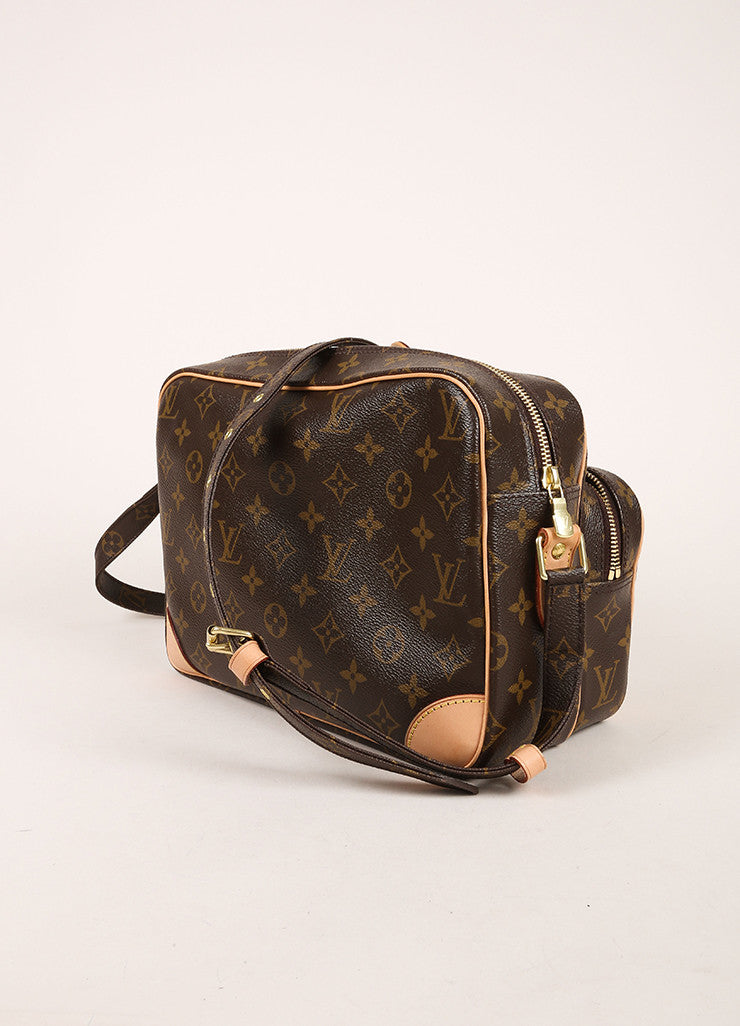 "Louis Vuitton Brown Monogram Canvas Structured ""Nil"" Crossbody Bag Sideview"