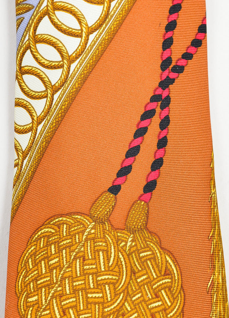 Men's Hermes Multicolor Silk Tassel & Tapestry Printed Necktie Detail