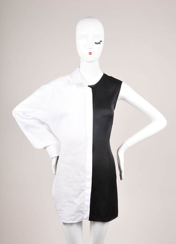 Maison Martin Margiela Black and White Poplin Satin One Sleeve Tunic Dress Frontview
