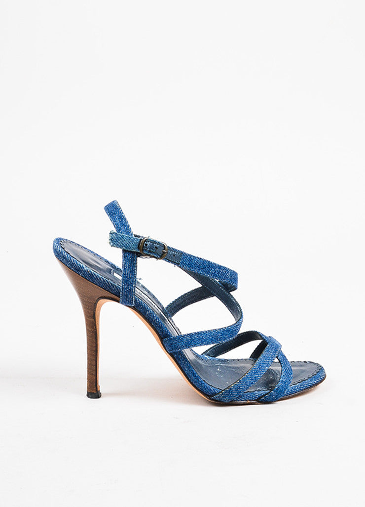 Manolo Blahnik Dark Blue Denim Cross Strap Heeled Sandals Sideview
