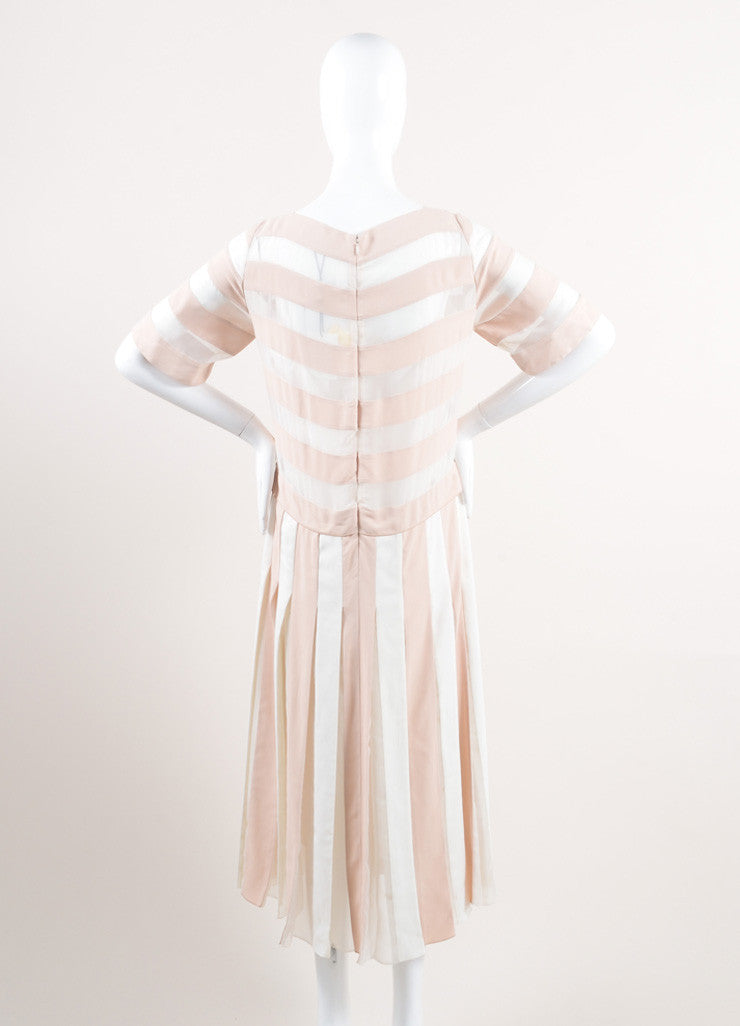 Marc Jacobs New With Tags Nude and Cream Stripe Sheer Panel Short Sleeve Dress Backview