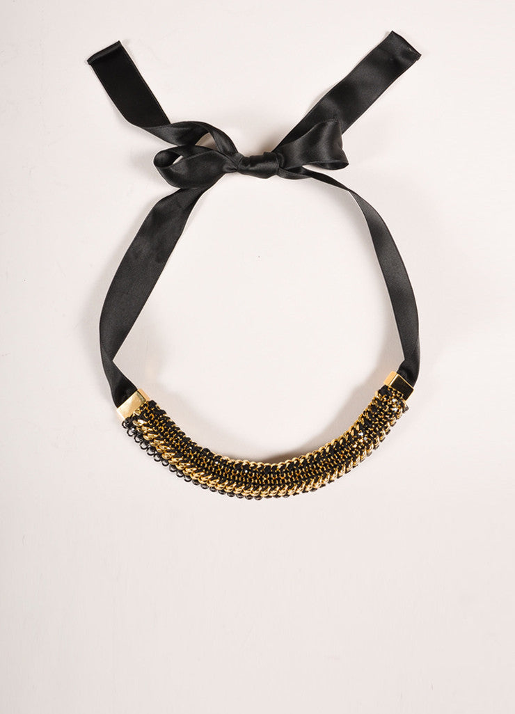 Marni New With Tags Black and Gold Toned Chain Link Rhinestone Embellished Ribbon Necklace Frontview