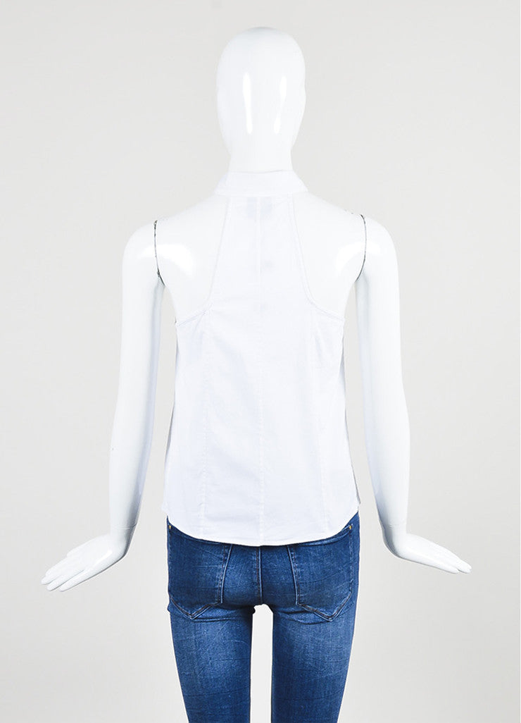 McQ Alexander McQueen White Button Down Sleeveless Top Back