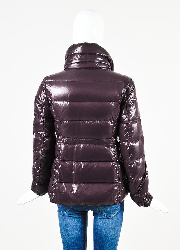 "Moncler Eggplant Purple Quilted Puffer Down Hooded ""Clairy"" Jacket Backview"
