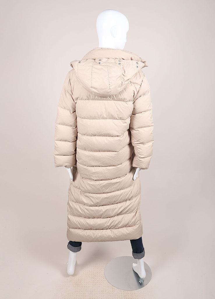 Moncler Tan Down Filled Quilted Removable Hood Full Length Long Sleeve Coat Backview