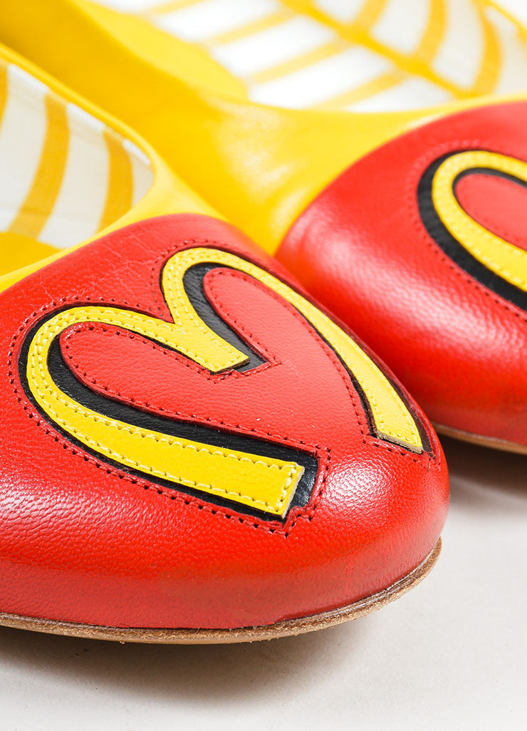 Yellow and Red Leather Moschino Fast Food Cap Toe Flats Detail