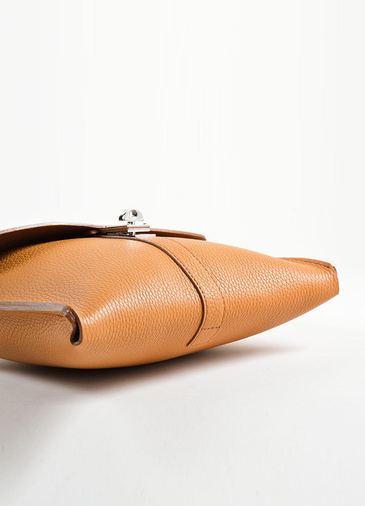 Nagatani Brown Pebbled Leather Square Clutch Bag Bottom View