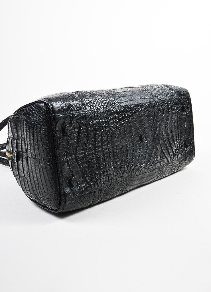 Black Nancy Gonzalez Crocodile Medium Bowler Satchel Bag Bottom View