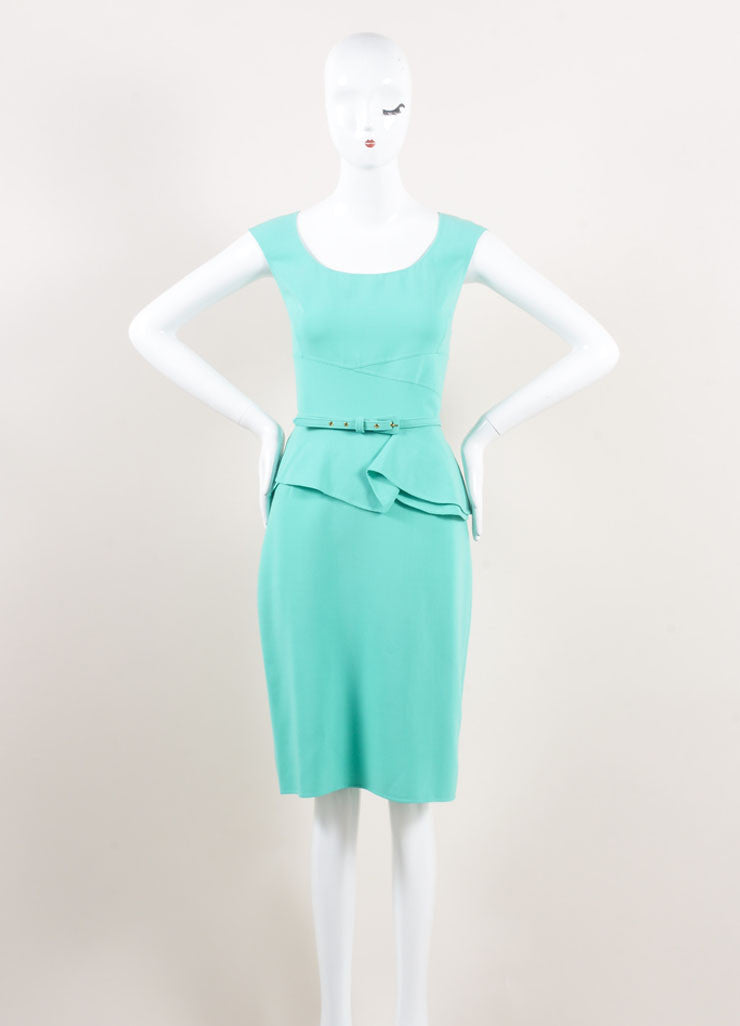 Oscar de la Renta New With Tags Turquoise Wool Peplum Belted Sleeveless Sheath Dress Frontview