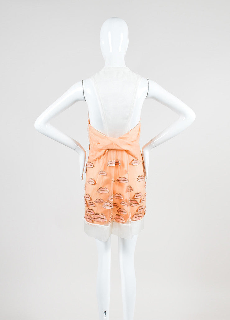 Orange and Cream Philosophy di Alberta Ferretti Sheer Silk Organza Lip Dress Backview