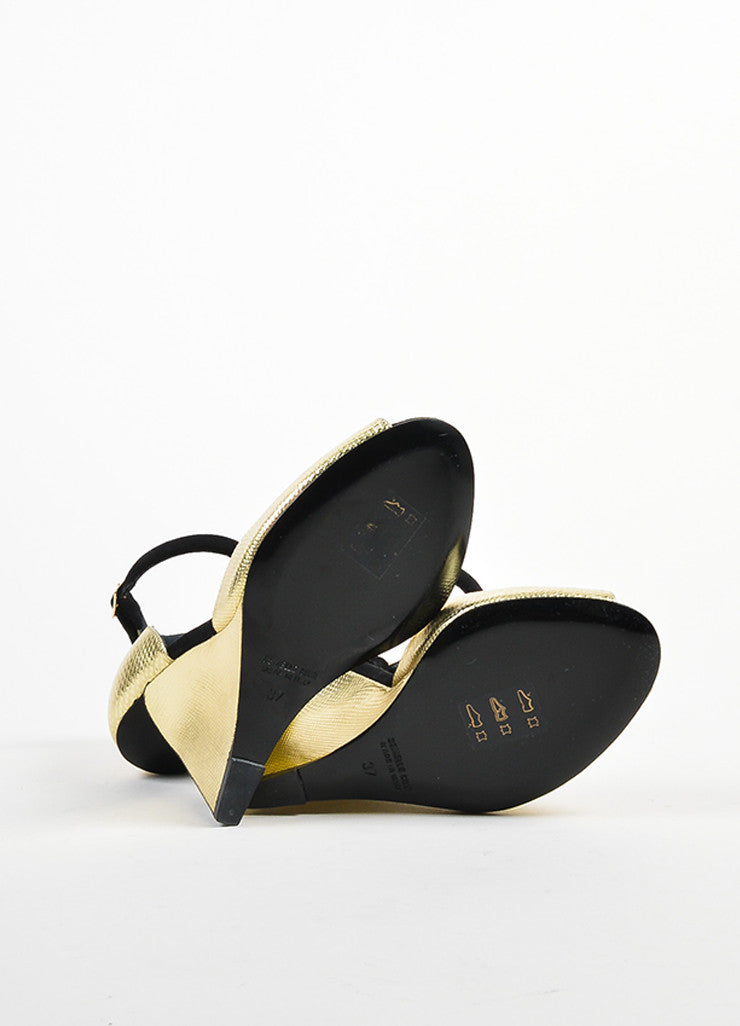 "Gold Metallic and Black Pierre Hardy ""Amanda"" Cut Out Wedge Heels Outsoles"