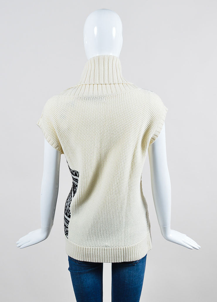 Cream Prabal Gurung Wool Mixed Knit Oversize Sleeveless Turtleneck Sweater Backview