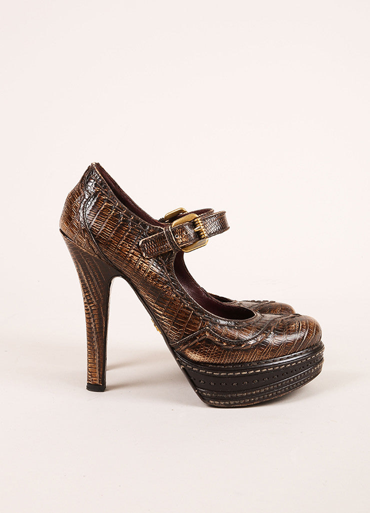 Prada Brown Lizard Embossed Leather Platform Mary Jane Pumps Sideview
