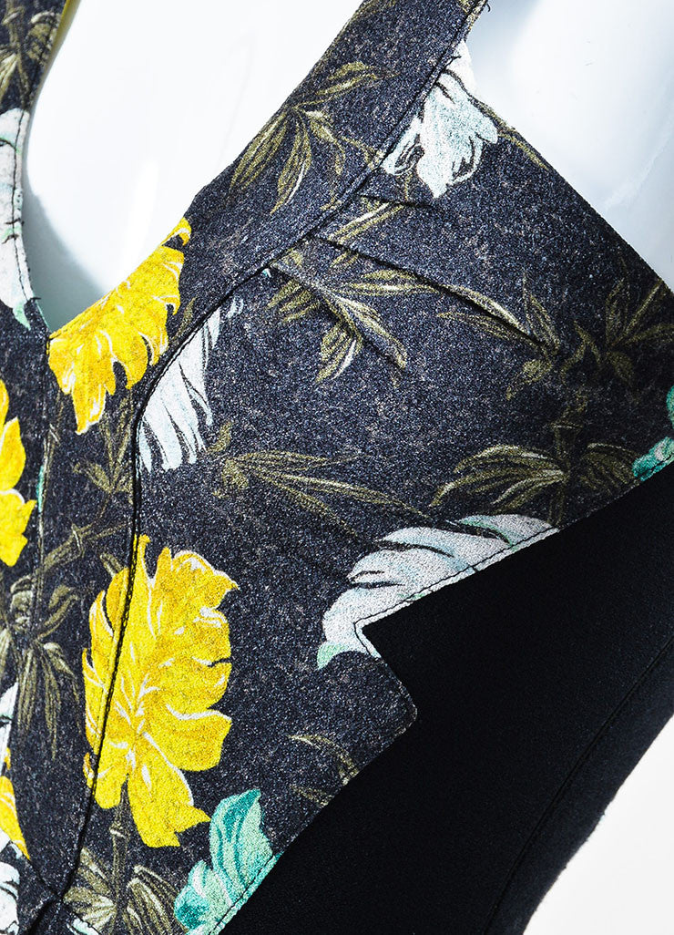 Black, Green, and Yellow Proenza Schouler Floral Print Sleeveless Mini Dress Detail