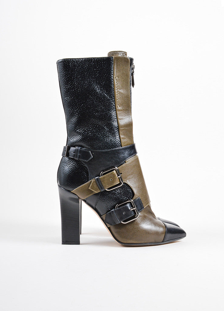 Reed Krakoff Black and Olive Green Leather Pointed Cap Toe Buckle Heeled Boots Sideview