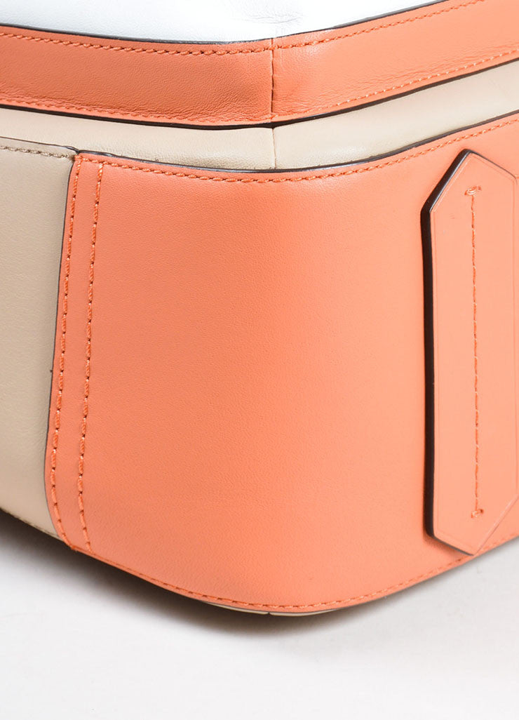 "Reed Krakoff White, Beige, and Coral Leather Colorblock ""Boxer"" Tote Bag Detail"