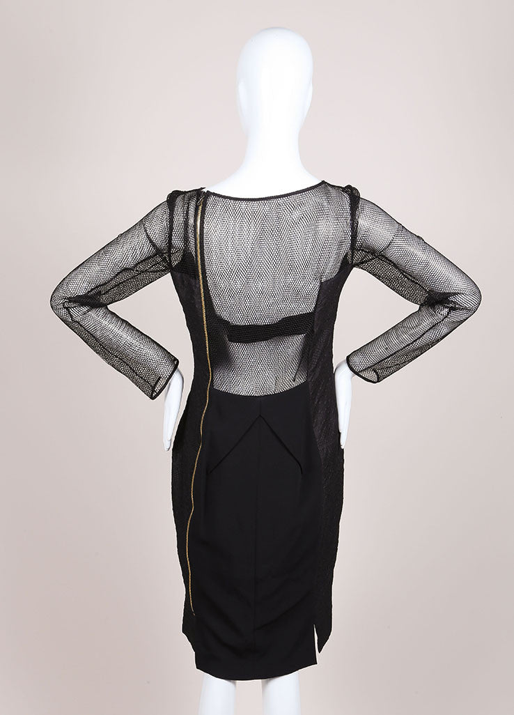 "Roland Mouret New With Tags Black Asymmetric Jacquard and Mesh ""Magnolia"" Dress Backview"