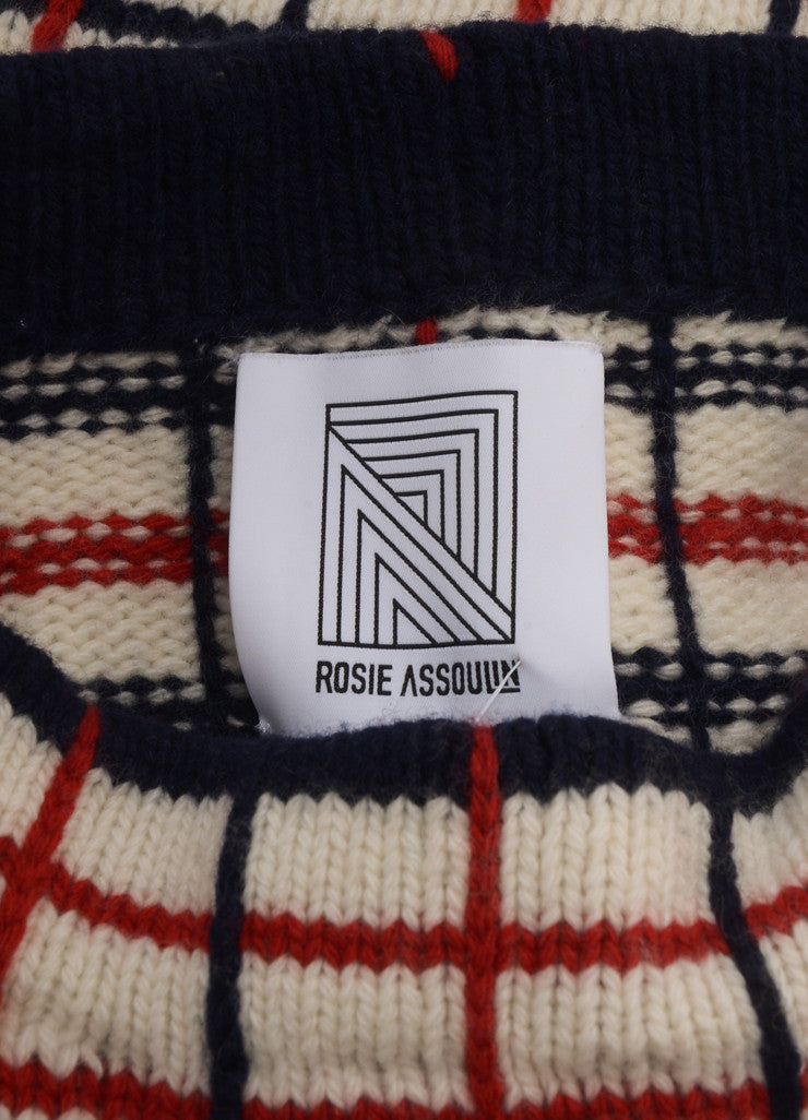 New With Tags Cream, Navy, and Red Wool and Cashmere Checked Sweater