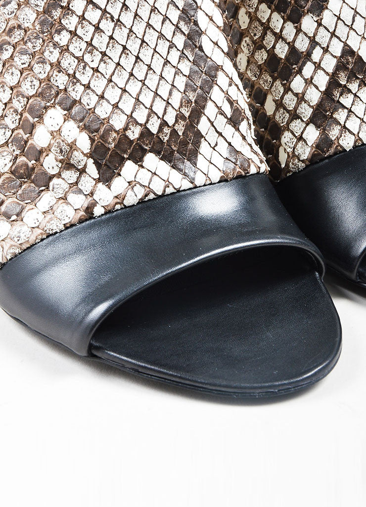 Black, White, and Brown Balenciaga Snake Leather Wrap Heel Sandals Detail