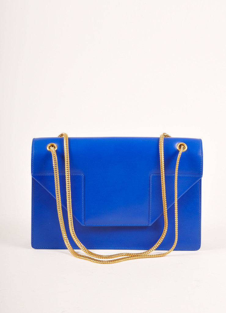 "Saint Laurent New With Tags Blue Leather ""Borsa Betty 2"" Medium Chain Bag Frontview"
