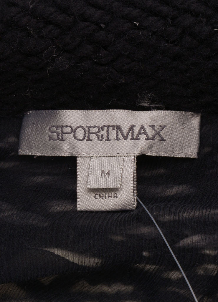 Sportmax Black, White, and Grey Wool Blend Chunky Knit Long Sweater Jacket Brand