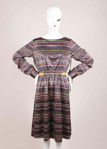 Thakoon New With Tags Navy, Brown, and White Graphic Print Cut Out Long Sleeve Dress Frontview