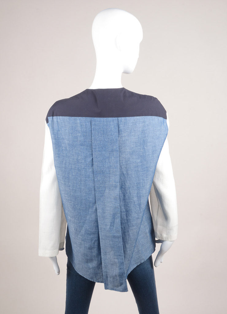 "The Row New With Tags Blue, Navy, and Cream Cotton and Linen Oversized ""Tori"" Blouse Backview"