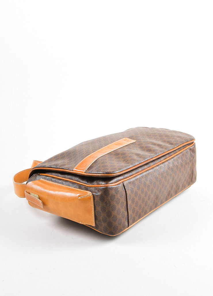 Celine Brown and Tan Coated Canvas and Leather Macadam Printed Messenger Bag Bottom View