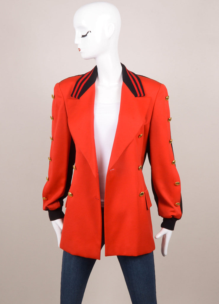 Escada Red and Black Wool Double Breasted Blazer Jacket Frontview