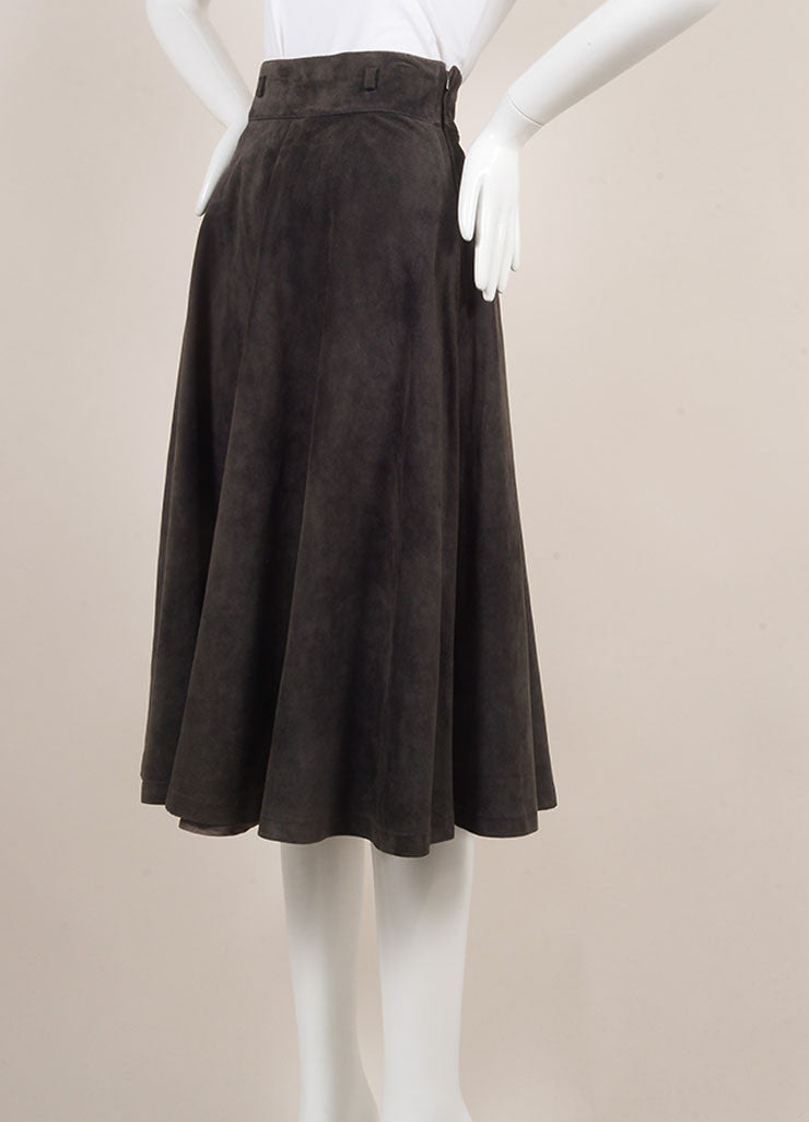 Gucci Grey Suede Full Midi Skirt Sideview