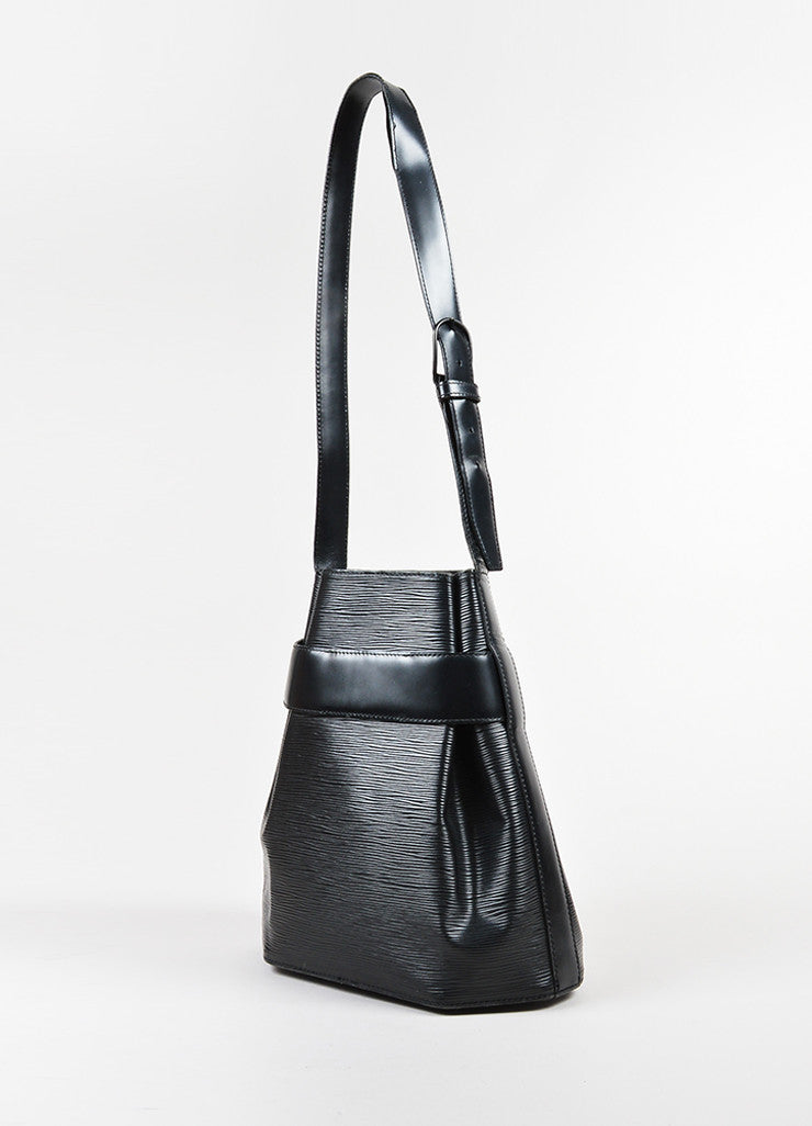 "Black Louis Vuitton Epi Leather Crossbody ""Sac D'Epaule"" Bucket Bag Sideview"