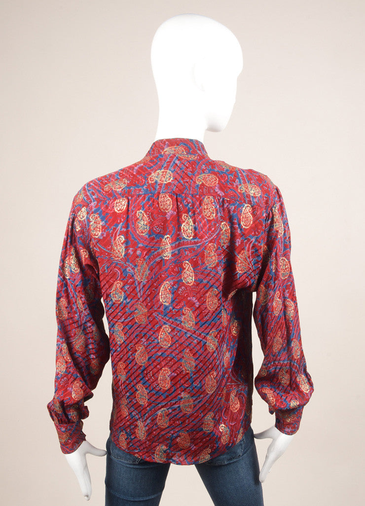 Saint Laurent Maroon, Blue, and Gold Paisley Button Down Blouse Backview