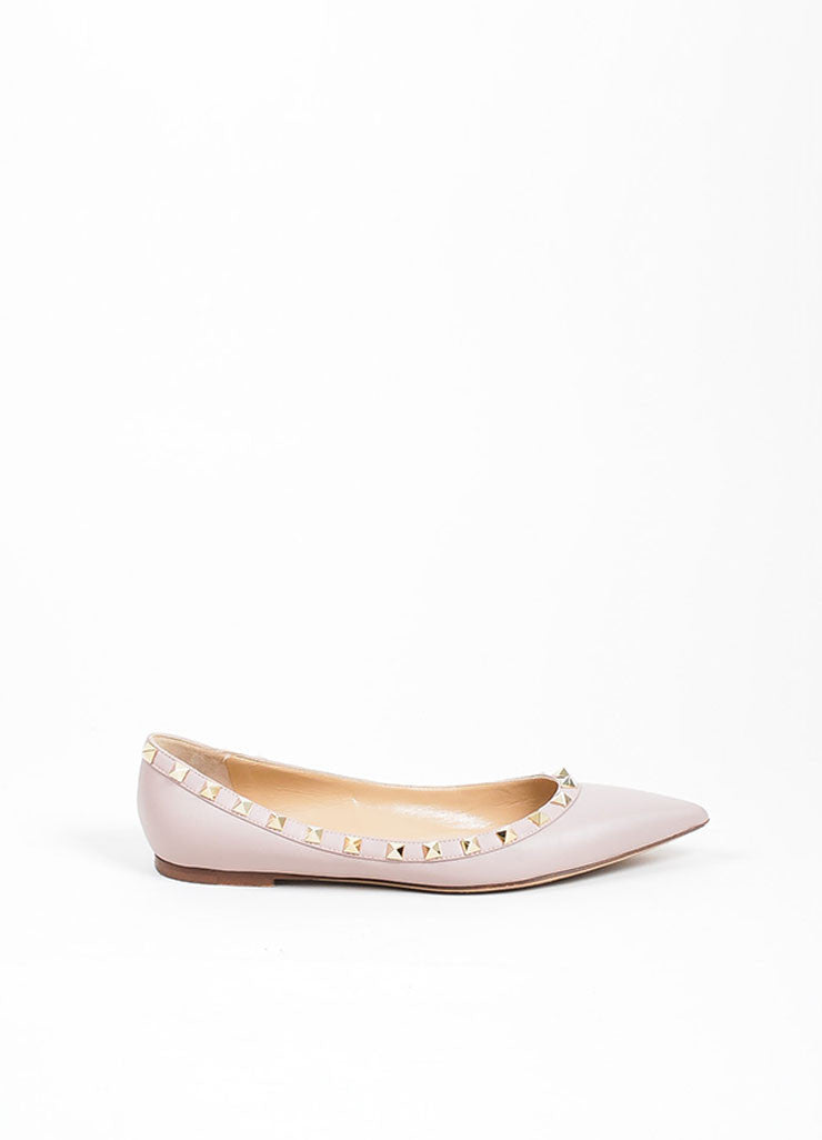 Blush Leather Valentino Rockstud Pointed Toe Flats Sideview