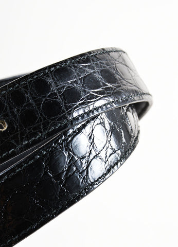 Black Valentino Alligator Leather Rhinestone Buckle Belt Detail