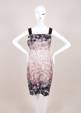 Valentino Black, Pink, and Grey Floral Print Ribbon Strap Empire Waist Sheath Dress Frontview