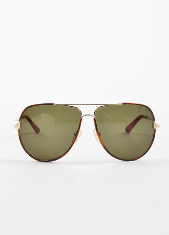"Valentino Brown Tortoise Silver Toned ""V116S"" Aviator Sunglasses Frontview"