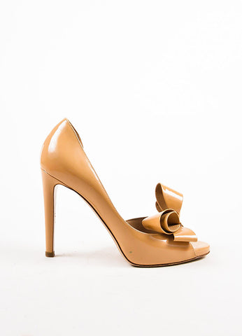Beige Valentino Patent Leather Peep Toe D'Orsay Pumps Side