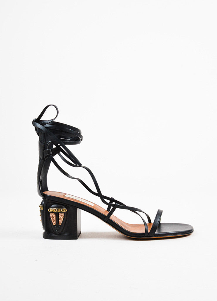 "Black Valentino Leather Strappy ""Mask"" Block Gladiator Sandals Side"
