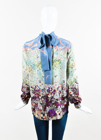 Blue Green & Purple Valentino Silk Floral Print Tie Neck Blouse Back