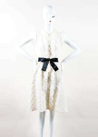 Ivory Silk Valentino Flutter Sleeve Polka Dot Overlay Shirt Dress Frontview
