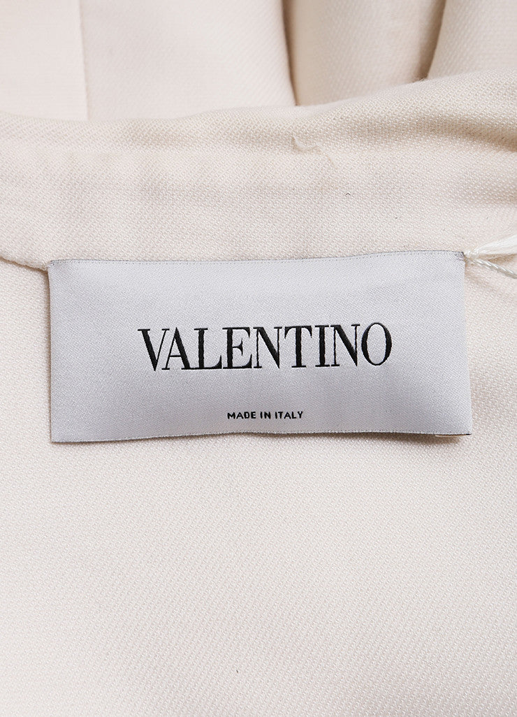 Valentino New With Tags Cream Wool and Silk Bow Snap Belted Overcoat Brand
